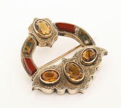 Citrine Scottish Agate Brooch Pendant