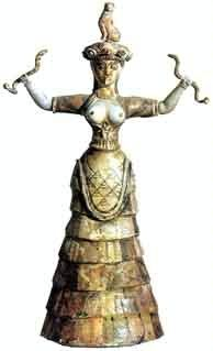 Minoan Snake Goddess wearing a tiered skirt apron and a sheer bodice with sleeves
