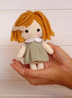 RAG DOLL with dress, little coat and cute box. Handmade. Winter doll