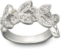 $45 Anillo de mujer Swarovski - chapado en rodio - cuatro brillantes mariposas adornadas con pavé de cristal transparente