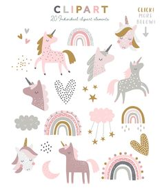 A cute collection of scandi style rainbows, unicorns and stars! Perfect for any little ones nursery or for creating sweet baby shower invites! Unicorn Party, Baby Unicorn, Cute Illustration, Unicorn Illustration, Illustrations, Kids Prints, Nursery Art, Cute Stickers, Art For Kids