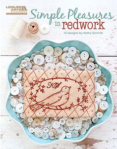 Beautiful redwork from Leisure Arts #bird #embroidery #heirloom