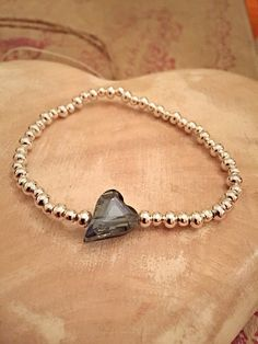 Silver Plated Crystal Glass Heart Beaded by Alwaysbethemermaid Etsy Store, Silver Plate, Arrow Necklace, Trending Outfits, Beaded Bracelets, Unique Jewelry, Handmade Gifts, Jewellery, Crystals