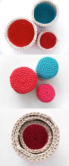 Crochet nesting baskets tutorial - easy!