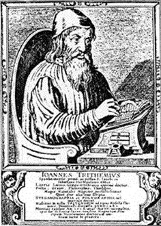 """One key component of magical writings in the Renaissance was the spread of the mystical system of Kabbalah. Johannes Trithemius studied medieval magical manuscripts as well as Kabbalah and wrote a work called """"Steganographia"""" (Secret Writing) in 1499, which was published in 1606. Trithemius's had many Renaissance successors who would attribute many ideas in their grimoires to """"Steganographia"""" (Reeds Introduction). Image Source: Esoteric Archives."""