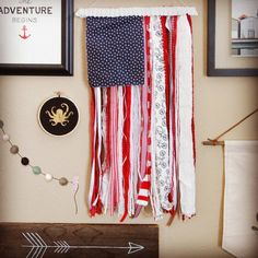 Hang Flag On Wall ribbon and rag u.s. flag rustic wall hanging 4th of july