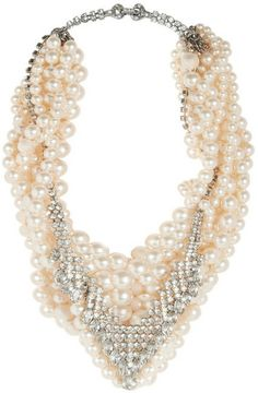 Tom Binns Grand Dame rhodium-plated, Swarovski pearl and crystal necklace