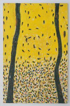 """Gunter Damisch (Austrian, born 1958) Two Rods (Zwei Stäbe), 1990 Par la force d'une cuisson mutuelle les ingrédients deviennent amers et vieux, La chaleur coagule les liquides ; Qui sont comme des poussières sur une fenêtre éclairée, Devenu """"cendre morte"""", je serai uni au silence suprême Austria, Comme, Painting, Art, Ash, Art Background, Painting Art, Kunst, Paintings"""