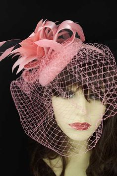 37c20f6021356 Pink Lace Hat   Feather Flower with Veil Fascinator