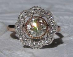 Old European Cut (OEC) Moissanite Poppy Engagement Ring with Rose Gold Milgrain Bezel by JuliaBJewelry on Etsy