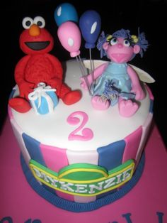 Candles Cakes And Fondant On Pinterest - Elmo and abby birthday cake