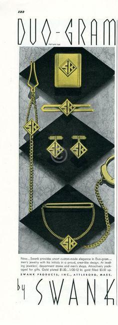 1939 SWANK Duo-Gram Men's Jewelry Ad Tie Clips Cuff Links Crests