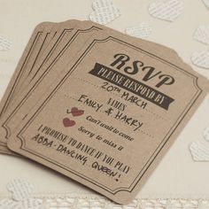 A pack of 10 'RSVP' cards for any event printed on a brown kraft card.Make sure all your family and friends get back to you with these fun RSVP cards. Ideal to use at a wedding or any party you are hosting. These RSVP's have room for you to fill in the date and names of the guests you need confirmation on. The guests simply tick if they are coming or not and can even add a request for a special song to get them on the dance floor! The cards come complete with envelopes. Pack of 10. Matching…