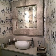 Love this image of our Dazzle wallpaper in the bathroom at the @libbyblakey showroom! #zebra #zebraprint #wallpaper #wallcoverings #drawing #illustration #design #detail #inspiration #interiordesign #interiors #bathroom #luxury #lifestyle #safari