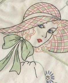 Vintage Flappers Hat Ladies Hand Embroidery Designs 1920 50 Pillow Quilt | eBay