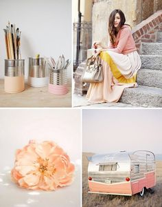 peach, silver, white/ivory, and gold color palette