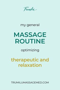 When I was a new massage therapist, I wanted to know more experienced massage therapists' basic routines. This is my basic routine that allows me to do detail work in the beginning, and relaxation at the end. Of course, experienced massage therapists will address the needs of the client first and foremost. It's helpful, though, to have a basic routine, so that you can do it for initial massages and better prepare new clients for what to expect during the massage. My signature massage.... I Want To Know, You Can Do, I Gen, My Signature, Initials, Routine, Massage, Things I Want, Relax