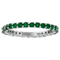 10k White Gold Round Emerald Eternity Ring, Size 8 Amazon Curated Collection. $156.00. Made in China