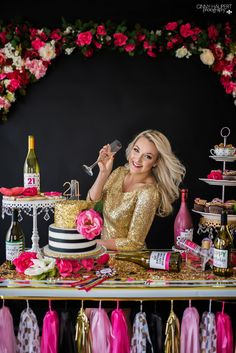 adult cake smash, photoshoot, dirty 30, 21st, birthday, denver, photographer, kate spade, gold, pink, black, party, decor, backdrop