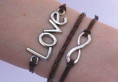 Antique Silver Bracelet, Black Bracelet, Love Bracelet, Infinity Bracelet