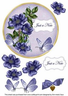 Dark Blue Wild Rose Just a Note 7in Circle Decoupage Topper on Craftsuprint - Add To Basket!