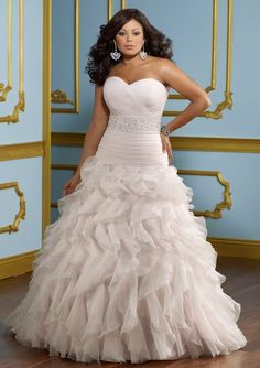 plus size wedding dress love the off white color.