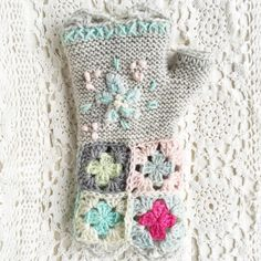 Hello Hart shared beautiful knit, crochet and embroidery fingerless gloves made for her daughter