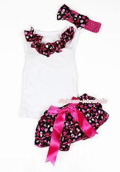 e6db20b4394 Valentine Ruffle White Pettitop Hot Pink Heart Newborn Baby Bloomer Set  NB-12M