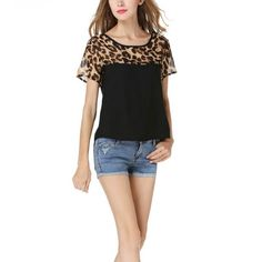 Woman blouses Summer Chiffon clothing Leopard Print Patchwork Top Feminina Round Neck Short Sleeve Casual Clothing Blusas LZH7 #Affiliate