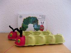 ...und roter Farbe, gelbem und grünem Tonpapier, Pfeifenputzern und Eierkartons (praktischerweise schon in Grün).
