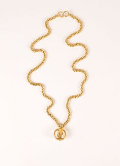 "Gold Toned ""CC"" Logo Sphere Pendant Chunky Chain Necklace"