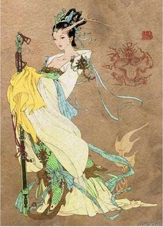 Nüwa was a serpent deity from ancient Chinese mythology. Nüwa was seen as the creator of humankind and remained a powerful benefactor to people and all living creatures. Korean Mythology, World Mythology, Snake Mythology, Mythological Creatures, Mythical Creatures, Snake Goddess, Dragon King, Dragon Lady, Art Asiatique