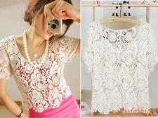 Sexy Women Top Sheer Lace Hollow Crochet Knit 3/4 Sleeve Shirt Vest Fancy Tees