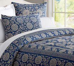 Calista Floral Duvet Cover & Sham #potterybarn inspiration for New Mexico style bedroom, stripped pine look for beds and for wall unit. Taos furniture, Santa Fe art
