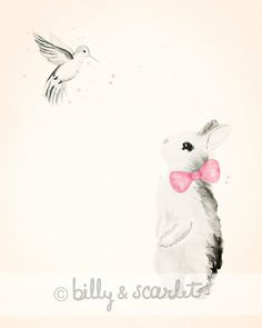 Bunny with a Hummingbird Girl Nursery Print, 8x10 Size with Cream Background, Shabby Chic Decor, Baby Shower Gift