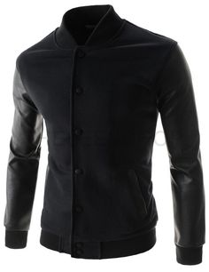(NEJ02-BLACK) Mens Slim China Collar Arm Synthetic Leather Patched Snap Button Jacket