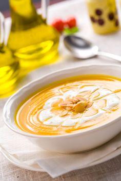 Creamy Butternut Squash Soup with Garlic Creme! <3