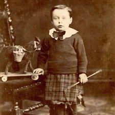1880s LITTLE BOY IN KILT TOY HORSE CDV PHOTO CARTE DE VISITE ANTIQUE KEIGHLEY