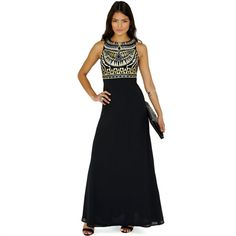 Elegant Women Round Neck Sleeveless Geometric Print Chiffon Patchwork Maxi Long Dress $5.09
