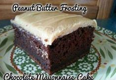 Chocolate Mayonnaise Cake with Peanut Butter Frosting