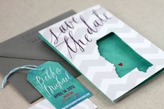 Beth + Michael's Chevron Stripe + Calligraphy Save the Dates - Oh So Beautiful Paper