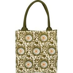 """Evoking a wood block, """"artisanal"""" look to its pattern, our popular Catherine Itsy Bitsy Gift Bags come in four wonderful colors: Navy, Magenta, Orange and Olive. Measuring 8"""" wide, by 8"""" tall, by 5"""" d"""