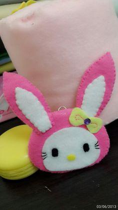 Hot pink felt kitty bunny