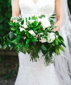 Bride's green bouquet of ferns and white blooms ~ we ❤ this! moncheribridals.com
