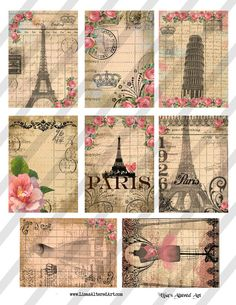 Paris Background Images  Each Images measures 2.5 X 3.5    Instant Download!  Your file/link will be emailed to your etsy address on file.  300dpi  You will receive this file in THREE formats, jpeg, pdf and png.    JPEG is a compressed image file format. JPEG images are not limited to a certain amount of color. Therefore, it is considered the best type of file format for compressing photographic images. PDF is a file format that preserves most attributes (including color, formatting…