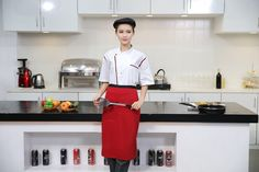 Summer Restaurant Restaurant Uniformed Skimmed Men And Women Similar Chef Uniforms Classic Restaurant Uniforms, Chef Work, Red Kitchen, Black White Red, Late Summer, Work Wear, Latest Fashion, Women, Outfit Work