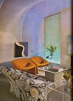 Home and Garden, 1970 Glass Furniture, Retro Furniture, Vintage Interior Design, Vintage Home Decor, Home Decor Bedroom, Living Room Decor, Pierre Paulin, Art Gallery, Rustic Sofa
