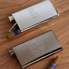 Flask and Cigar Holder Combo in Choice of by TheMonogramSelection