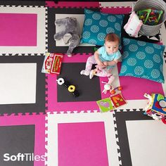 SoftTiles Squares Foam Play Mat for designer playrooms. A fun colorful play mat that brings your playroom to life! Choose your own colors and shapes to create a totally unique children's play mat.