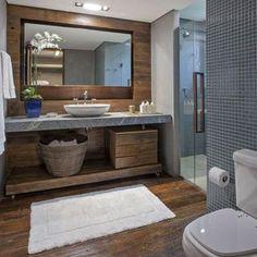 Banheiro com estilo rústico moderno
